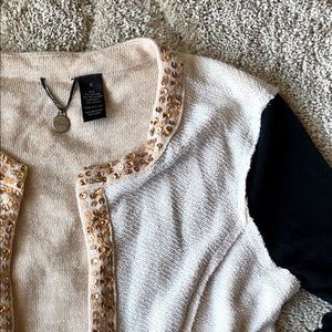 BKE Boutique Open Cardigan with Sequins